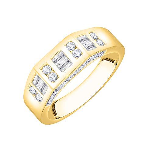 KATARINA Anillo de aniversario de diamantes de talla baguette y redonda en oro de 14 k (1/2 quilt, G-H, I2-I3)