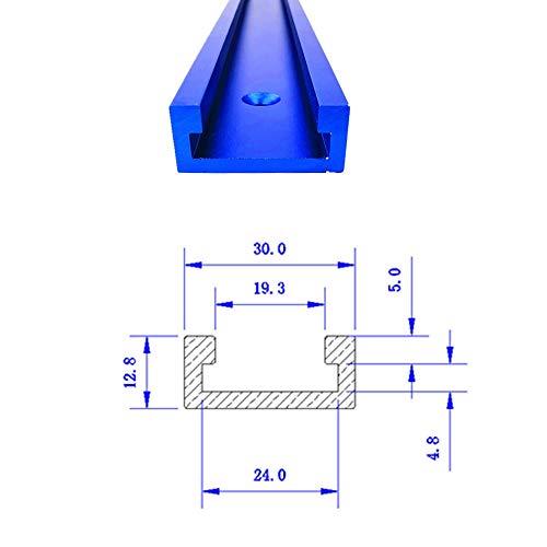 30 Typ T-Slot Gehrungsschiene T-Schienen-Gehrungsvorrichtungs-Befestigungs-Schlitz-Aluminium,T-Schienen-Gehrungsvorrichtungs-Werkzeuge für Holzbearbeitung oder Router Tischsäge(blau) 600MM