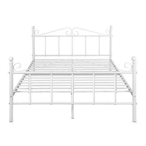 H.J WeDoo Doppelbett Metallbett Ehebett Bett Metall Bettgestell mit Lattenrost für Gästezimmer Schlafzimmer Bett In Weiß Blume Design 140 x 200cm,Weiß