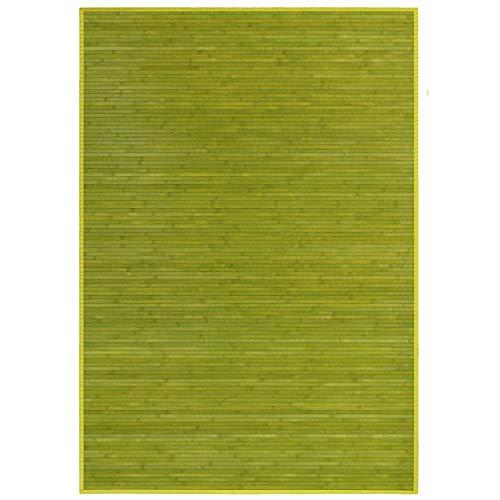 Alfombra de Salón o Comedor, Verde, con Base Antideslizante, de Bambú Natural 140 X 200cm Natur, 140x200- Hogar y Más