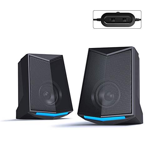 Docooler V-115 desktopluidspreker, audio 2.0, soundkanaal, stereo, 3 W, uitgang, USB, draagbaar, subwoofer voor PC, laptop, telefoon, standaardversie, Black(Upgraded)