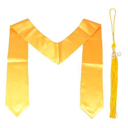 NUOBESTY 2 Piezas Vestido de Graduación Estola Gorra Borla Llana Estola de Graduación para Estudiantes de Graduación de Licenciatura Graduación Universitaria (Dorado)