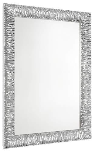 GaviaStore Specchio moderno da parete di altissima qualità – Julie - 70x50 cm - arred casa art home decor soggiorno modern sala paret camera bagno cucina ingresso (Argento)