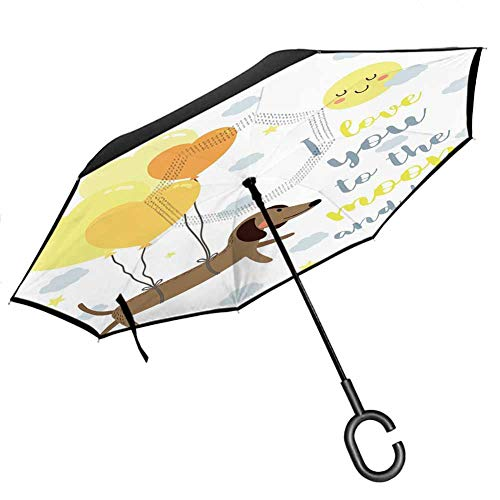 """I Love You Inverted Umbrella Travel Compact Dog with Balloons and Concept Hearts Sun Clouds Puppy Best for UV Protection & Rain, 42.5""""x31.5""""Inch Yellow Cocoa Blue Grey"""