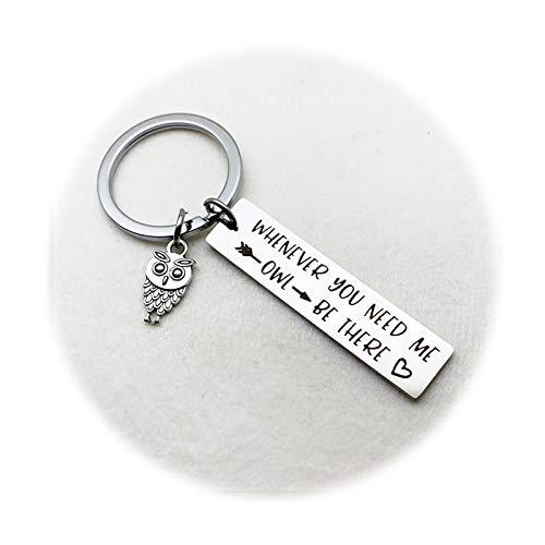 Aimsie Schlüsselanhänger Platz Eule Whenever You Need Me Owl Schlüsselbund Keychain Deko Silber Edelstahl Schlüssel-Anhänger Geschenk mit Schlüsselringe mit Kostenlos Gravur