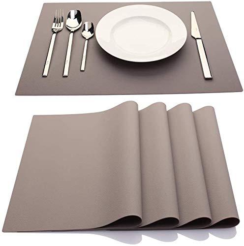 IYYI Silikon Tischsets,Tischsets für Kinder, Tischsets für Esstisch, wasserdichte hitzebeständige rutschfeste Küche Leicht zu reinigen,4er-Set(Hellgrau)