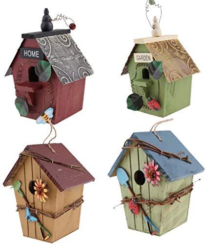 LLDKA Vogelhuis, super villa voor kleine zangvogels, geschenk 4tlg Vintage nestkast vogel huis