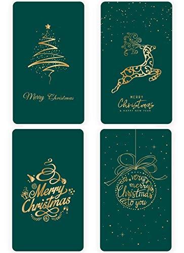 Eastor 4 Stück Premium Weihnachtskarten, Weihnachtskarten mit Umschlägen und Aufkleber, Weihnachtspostkarten für Weihnachtsgrüße an Familie, Freunde, Kunden, Frohe Weihnachten