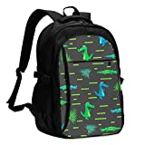 asfg Resistente a Las Manchas Crocodile Kid Cartoon Pattern Multifunctional Personalized Customized USB Backpack, Student School Outdoor Backpack,Travel Bag Laptop Bookbags Business Daypack.
