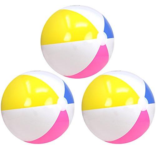com-four® 3X Wasserball aufblasbar - Strandball wasserabweisend - Beachball für Strand, Pool und Badesee - Badespielzeug - Ø 41 cm (Ø 41 cm - 03 Stück)