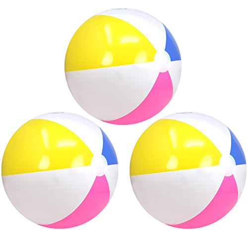 com-four® Pallone da Spiaggia 3X Gonfiabile - Pallone da Spiaggia Idrorepellente - Pallone da Spiaggia per Spiaggia, Piscina e Lago balneabile - Giocattolo da Bagno - Ø 41 cm (Ø 41 cm - 03 Pezzi)