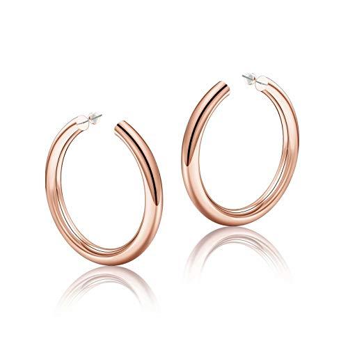 Rose Gold Hoop Earrings for Women, 14K Rose Gold Plated Lightweight Chunky Open Hoops 50mm Rose Gold Hoop Earrings for Women