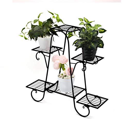 Queiting Blumenständer Metall Schwarz Retro Pflanzentreppe für Innen und Außen Garten Balkon Pflanzenregal Ausstellungsstand für Dekoständer Pflanzenständer