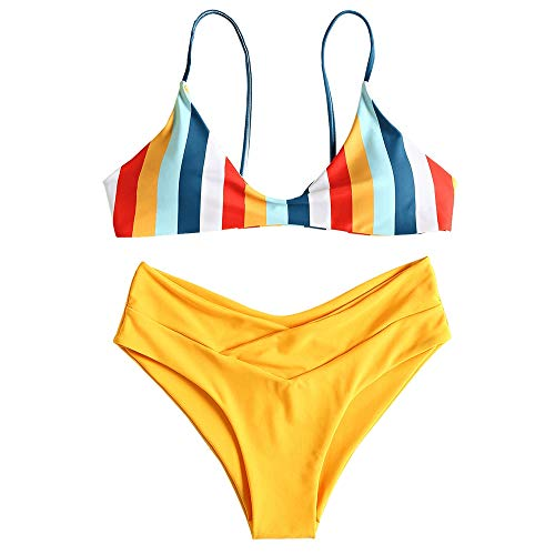 ZAFUL Damen Gestreift Spaghetti-Träger High Leg Cami Bikini Set Badeanzug Beachwear Gelb L