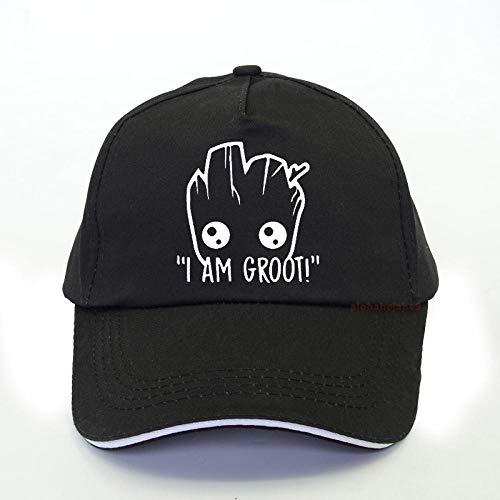 PRWJH Classic Snapback Cap Cotton Dad Hat Hombres Star Wars Anime Baby Pop Groot Summer Funny I Am Groot Gorra de béisbol Hombre Cool Summer Snapback Hats