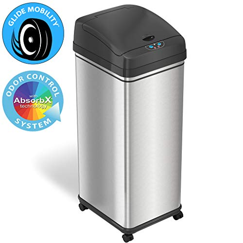 iTouchless Glide 13 Gallon Sensor Trash Can with Wheels and Odor Control System, Stainless Steel,...