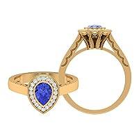 1.00カラットタンザナイトソリティアリング D-VSSI モアッサナイトヘイローリング 5X7 MM 梨型婚約指輪、ゴールドクラウンリング, 14K イエローゴールド, Size: 19