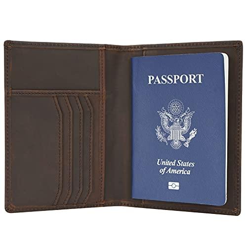 Polare Slim RFID Blocking Leather Passport Holder Travel Bifold Wallet For Men(Brown)