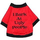 Oasis Plus 100% Cotton Black Edge Red Pet T-Shirt Vest Costume Clothes for Large Female Male Dogs Cats Rabbits