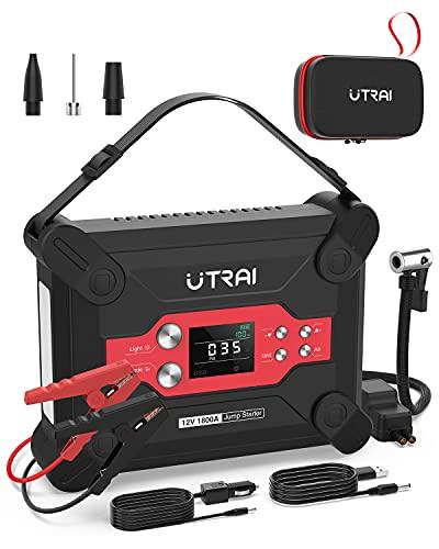 UTRAI Jstar 6 Booster Batterie 120 PSI 1800A 24000mah avec Fonction de Gonfleur Démarreur de Batterie de Voiture d'alimentation d'urgence Portable (Jusqu'à 8.0L Essence/6.5L Gazole)