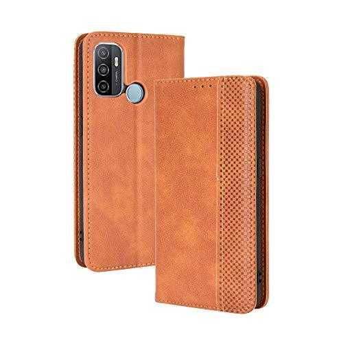 LAGUI Kompatible für Oppo A53s 2020 Hülle, Leder Flip Hülle Schutzhülle für Handy mit Kartenfach Stand & Magnet Funktion als Brieftasche, braun