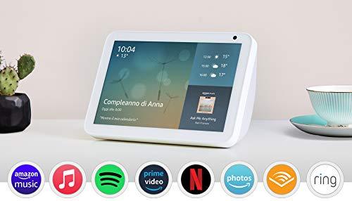 Echo Show 8 (1ª generazione, modello 2019) | Schermo intelligente con Alexa | Resta sempre in contatto con l'aiuto di Alexa | Bianco