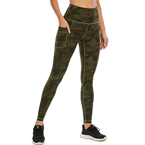 AY Damen High Waist Sport Leggings, Lange Blickdicht Yoga Hose Tights Sporthose Fitnesshose mit Taschen