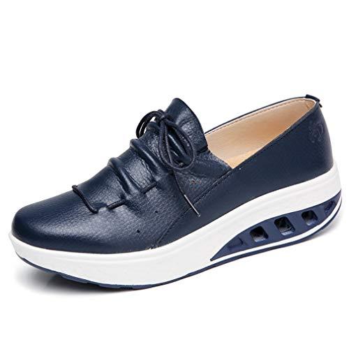 Solshine Damen Leder Plateau Sneakers Shape up Fitness Walkmaxx Turnschuhe Dunkelblau 36EU