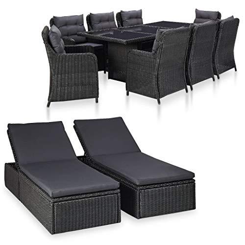 UnfadeMemory - Conjunto de muebles de jardín con asiento acolchado de ratán sintético y marco de metal, mesa de jardín, sillas de jardín y 2 tumbonas, Set de 11 piezas.
