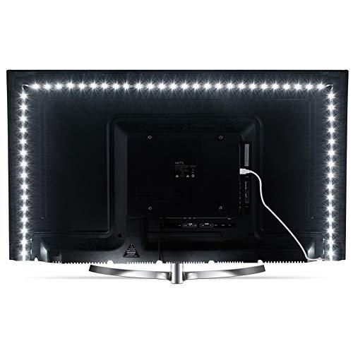 ViLSOM LED-Lichtstreifen, 3 m, 6000 K, Tageslichtweiß, 5 V, SMD 2835 LEDs, USB-betriebene TV-LED-Hintergrundbeleuchtung für 117 - 165 cm Fernseher