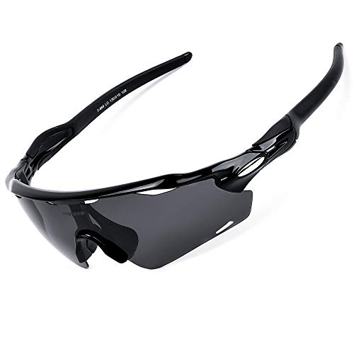 BATFOX Sports Sunglasses Polarized for Men Women Youth Boy Junior with Interchangeable Lenses Glasses tr90 Unbreakable Frame for Running Cycling Baseball Golf Fishing Driving 100% UV Protection(Black)