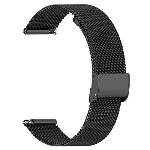 AGUPERFIT 時計バンド 20mm 通気性 柔らかい ステンレスメッシュ クイックリリース ベルト スマートウォッチに対応 (20mm, 01ブラック)