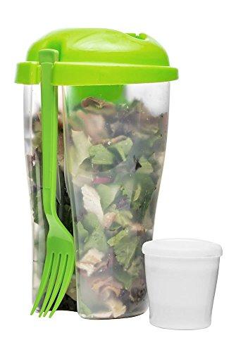 Sagaform to Go Gobelet avec Fourchettes Et Récipients pour Vinaigrette Salade Gobelet Réservoir À Salade Box Salade De Fruits Yaourt Tasse Vert