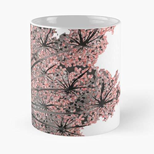 Taza de café de cerámica con diseño de flores de primavera, coral, color morado y rosa floral de 11 onzas