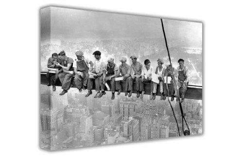 Canvas It Up-York Poster, Foto von Mittagessen auf einem Wolkenkratzer, große Leinwand in Schwarz und Weiß, mit Rahmen Europäisch 7- 20