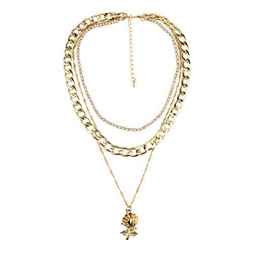 Meerlaagse Ketting Roze Bloem Hanger Damesmode Vintage Stijl Diamanten Ketting Cadeau Geschikt Voor Gouden Vriendin