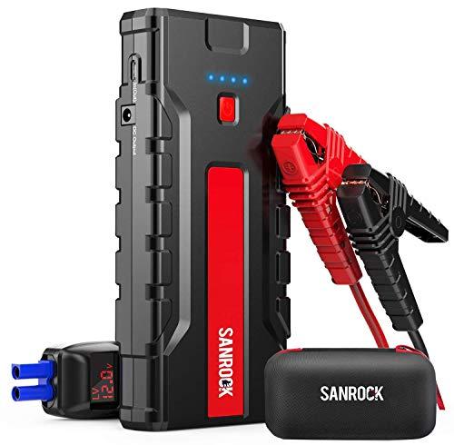 SANROCK G37 Car Jump Starter, Lithium Car Battery Charger (8.0L Gas/6.5L Diesel) - 2000A Peak 16000mAh 12V Super Safe Booster Power Pack,Type-C Port, Dual Quick USB Ports, Smart Jumper Cables
