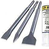 S&R Cincel SDS Plus / Juego de 3 Cinceles: cincel plano 14x250x20, cincel a pala 14x250x40, cincel 14x250mm, Linea Meister