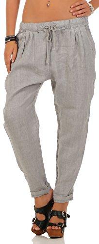 Malito Damen Hose aus Leinen | Stoffhose in Unifarben | Freizeithose für den Strand | Chino - Jogginghose 6816 (hellgrau, XL)