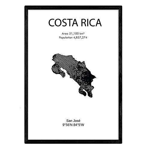 NACNIC Feuille carte Costa Rica. Photos, impressions et affiches pour le salon, la chambre à coucher... Style nordique en noir et blanc. Poster de pays et continents. Format A4 sans cadre.