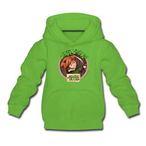 Spreadshirt Robin Hood Schlitzohr Von Sherwood Porträt Kinder Premium Hoodie, 110-116, Hellgrün