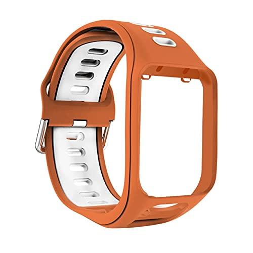LSB-SHOWER Band Correa de muñeca para Tomtom 2 3 Spark Runner Adventurer Golfista Reloj Inteligente Pulsera de Repuesto Pulsera de Repuesto Cinturón Suave ( Color : Orange White )