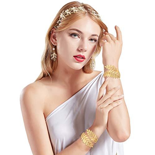 Coucoland Athene Kostüm Zubehör Set Damen Blatt Stirnband Haarreif Perlen Ohrringe Gold Spule Armband Exotisch Damen Göttin Fasching Kostüm Accessoires