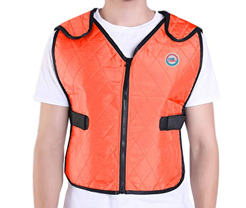 Climafusion Cooling Vest for Women & Men Adjustable Ice Vest Breathable Comfort Psyctic Vest Gear for Women & Man for Fishing Cycling Running Cooking Wearer Stays Cool and Dry (L/XL, Orange)