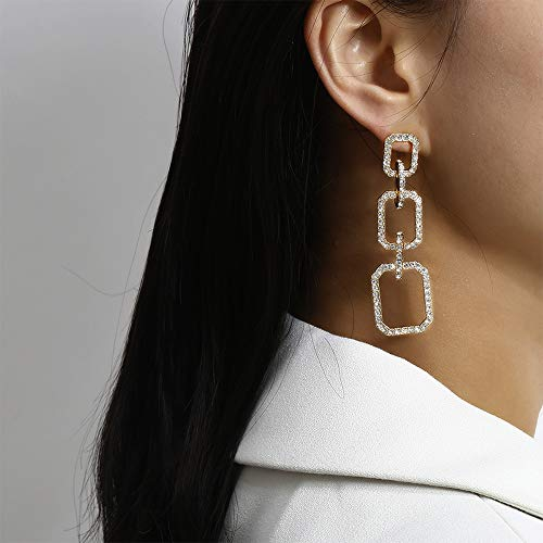 Anglacesmade Boheemse Diamond-studded Chain Link Stud Oorbellen Geometrische Lange Drop Dangle Hoops Oorbellen Prom Party Bruiloft Sieraden voor Vrouwen Meisjes Headband and earrings Goud