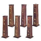 CAPRILO. Set de 3 Apoyainciensos Decorativos de Madera Modelos Surtidos. Adornos y Esculturas. Decoración Hogar. Aromas y Fragancias. Regalos Originales. 8 x 8 x 30 cm.