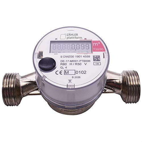 ZÄHLER plattform OMS Funk Wasserzähler Warm Qn 2,5, Baulänge 130 mm, Durchfluss 3/4 Zoll, Anschluss 1 Zoll Eichung 2020 gültig bis 2025 Aufputzwasserzähler