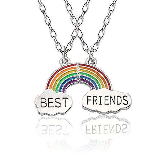 CYWQ Best Friends - Collar de amistad con diseño de arco iris y 2 nubes
