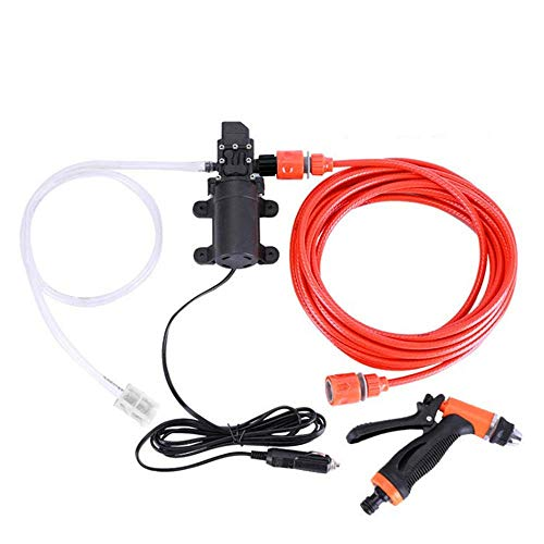 Liangzi 12V 70w Portable High Pressure Washer, Car Electric Water Cleaner Wash Pump Kit + Jet Wash Cleaning Hose for Home Garden Wash