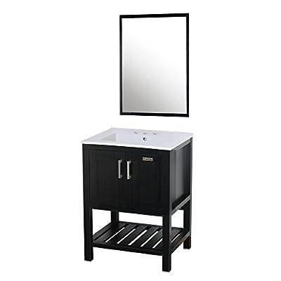 "eclife 24"" Bathroom Vanity Sink Combo W/Overflow White Drop in Ceramic Vessel Sink Top & Black MDF Modern Bathroom Cabinet W/Mirror (T01B07)"